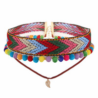 ingrosso tatuaggi bohemien-Collane di moda per le donne Boho Boho Fur Ball Flower Choker Necklace per le donne Fashion Gothic Tattoo Collare di gioielli
