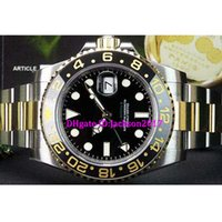 Wholesale ii tone - 8 style Luxury watches Never Worn 18kt Gold SS GMT II Ceramic 116713 two tone Stainless steel watch band Black ceramic ring black dial gree