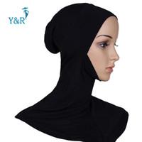 Wholesale Turban Muslim Hijab - Wholesale- Under Scarf Hat Bone Bonnet Full Neck Cover Inner Muslim Cotton Hijab Cap Islamic Head Wear Hat Underscarf Scarves Turban Shawl