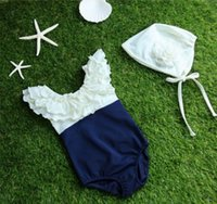 Wholesale One Piece Swimsuits Collars - Retail Family Matching Swimsuit Mother Daughter Swimwear Ruffles Collar Summer One Piece Beach Bathing Suit +Hats JY001
