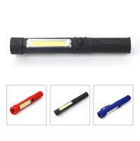 Wholesale Types Led Flashlight Bulbs - COB LED Mini Multifunction LED Torch Light COB Work Hand Torch Flashlight 3Color F00497