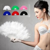 Wholesale Fancy Folding - New Feather Fans Folding Dance Hand Fan Fancy Costumes For Women Halloween Wedding Party Supplies
