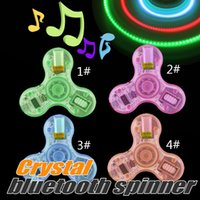 Wholesale Provide CE Certificate Newest Bluetooth LED Fidget Hand Spinners Colorful Varied Patterns EDC Stress Relief Toys with Retail Box