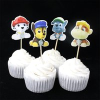 Wholesale Zoo Pets - Wholesale-24pcs Cute Dog Cupcake Toppers party cupcake picks cases petting zoo kids birthday party decoration baby shower candy bar