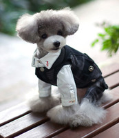 Wholesale Spring Male Outfits - 1 Piece Pet Dog Cat Puppy marry Suit Clothes Outfit Bow Black and white color 100% cotton high quality 4-2805