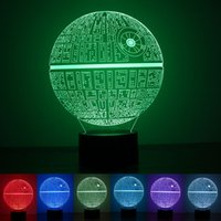 Wholesale Wedding Tables Decor - Star Wars Death 3D illusion Night light LED 7 color change desk table lamp Lighting Decor Gadget Lamp Awesome Gift