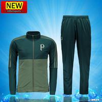 Wholesale Men Sports Suits - ^_^ Wholesale 2017 Palmeiras soccer tracksuit Jacket Set N98 Zipper Men Kit long sleeve Training suit pants football clothes sports wear