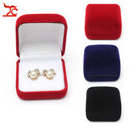 Wholesale Big Jewelry Gift Box - Free Shipping Big Sell 5Pcs Black Red Blue 3 Color Available Blocked Wedding Jewelry Ring Storage Gift Packing Box