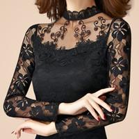 uzun kollu dantelli boyunbağı üstleri toptan satış-Toptan-yeni seksi moda kadınlar yüksek kaliteli dantel uzun Kollu Balıkçı Yaka ince t-shirt kadın ilkbahar sonbahar kazak siyah beyaz tops