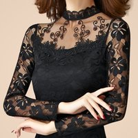 Wholesale new sexy fashion women high quality lace long Sleeve Turtleneck thin t shirt female spring autumn pullover black white tops