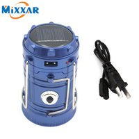Wholesale Solar Hand Battery - Outdoor Portable LED Camping Lighting Lantern Solar Charger Lantern Rechargeable with Charging Calbe USB port Hand Crank Light Lamp