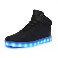 sneakers frauen männer led licht groihandel-8 farben USB lade led leuchtende schuhe männer frauen Leder Wasserdichte schuhe leuchtende leuchtende turnschuhe leuchten turnschuhe Männer schuhe