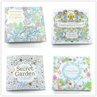 Wholesale Wholesale Graffiti Toys - PrettyBaby 4 Design Secret Garden Children Adult Graffiti Painting Drawing Book Animal Kingdom Enchanted Forest inky Coloring Drawing book