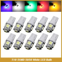50PCS T10 LED W5W 5SMD 5050 194 voiture a conduit lumière Lampes de lampe Wedge Auto Tail Light Side Parking Dome Door Map Lights 12V auto styling