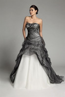 Wholesale gothic wedding dresses for sale - 2017New Arrival A line Long Gothic Black And White Wedding Dresses Strapless Corset Pick up Tulle Vintage Colorful Bridal Gowns Non White