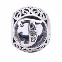 ingrosso alphabet crystal letters-Openwork Vintage T Charms Perline 925-Sterling-Silver cristallo alfabeto lettere T perline per gioielli europei fai da te marca braccialetti fare