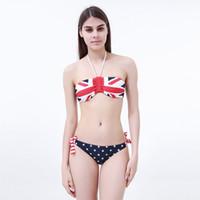 Wholesale Stars Stripes Bandeau Bikini - 2016 Summer Sexy Women Stars And Stripes UK Flag Bikini Padded Bandeau Swimsuit Swimwear beach home pool swimming