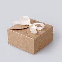 Wholesale Cake Paper Lace - 200PCS lot 9cmx9cmx6cm Vintage Style Kraft Paper Lace Pattern Cardboard Gift Box Candy Biscuit Gift Cake Packing Case ZA3875