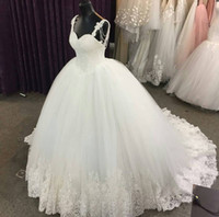 Wholesale ball gown wedding dresses - 2018 Luxury Ball Gown Wedding Dresses Sweetheart Spaghetti Straps Crystal Beaded Tulle Plus Size Wedding Dresses Backless Bridal Dresses