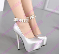 Wholesale Punky Shoes - 2017 fashion punky rivets patent PU leather silver black ankle strap platform high heels pumps women wedding shoes size 34 to 39