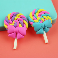 Wholesale Sweet Polymer - 20PCS Kawaii Clay Lollipop Polymer Clay Lollipops Bow Candy Miniature Fake Candy Decorations Fimo Craft Diy Sweets Deco 40*25mm