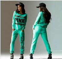 Wholesale 2pc Fashion - 2017 new sport wear Tracksuit Women Letter vs Pink Print Sports Suit Hoodies Sweatshirt +Pant Jogging Sportswear Costume 2pc Set