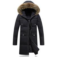Wholesale Duvet Duck - Wholesale- 2016 New Casual Long Fur Collar Hooded Heren Winter Jassen Thick Warm Manteaux En Duvet De Canard