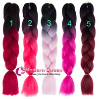 Wholesale Synthetic Hair Extensions Burgundy - Free Shipping Ombre Two tone 24inch 100g Crochet Braids Twist synthetic hair extensions Kanekalon Jumbo synthetic braiding hair