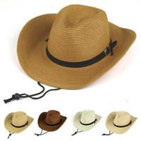 Wholesale Western Cowboy Tie - Good A++ Men's Western Cowboy Foldable Sunbathing Beach Shade Hat Big Hat Hat Summer EMB039