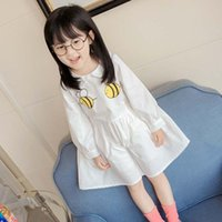 Wholesale Chinese Kids Wear - princess dresses for kids clothing white animal cute Girls Dresses Fashion Casual Dresses Children Clothes boutique clothing Kids Wear A1005