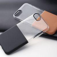 Wholesale pc case texture online - For iPhone s Plus Samsung s8 plus cellphone Cases Half to Half High transparent TPU Texture PC Protective Case Cover