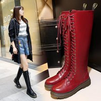 Black Or Wine Red Knee High Platform Boots Punk Rock Strappy Lace Up Botas Martins Botas de moto alta da coxa