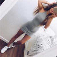 Wholesale Basic Mini Dress - 2017 New Fashion Sexy Women Basic Dresses Sleeveless Slim Vestidos Bodycon Clothing High Neck Solid Color For Party Dress
