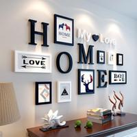 marcos de fotos de madera en casa al por mayor-Europeo Stype Home Design Wedding Love Photo Frame Decoración de la pared Marco de madera Set Wall Photo Frame Set, Blanco Negro Home Decor
