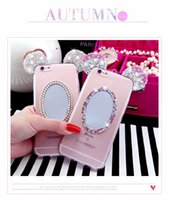 Wholesale Ear Mirror - For iPhone 7 3D Diamond Glitter mirror Mickey Mouse Ears Soft Transparent ultra thin TPU Phone Case Cover shell For iPhone 5S 6S 7 Plus case