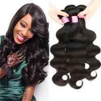 Wholesale Cheap Peruvian 1b Virgin Weave - Brazilian Virgin Hair Malaysian Remy Hair Body Wave 4 Bundles Deal Brazilian Body Wave Bundles Unprocessed Cheap Human Hair Weave #1B DHL