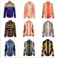 Wholesale Men fashion Punk style shirts Patchwork d Religion Baroque Golden Flower Floral print long sleeves Camisas Slim fit tops Hemd
