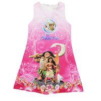 Wholesale Satin Vest Wholesale - Girls cartoon princess satin vest dress 2colors moana sleeveless dress kids summer clothing outfits for 3-8T