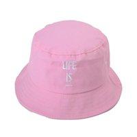 Wholesale Rain Snaps - 6 Color Life Bucket hats Buckets caps Bucket Hats Baseball Caps Cap Snap Back Snapbacks Hat High Quality Mixed Order