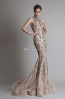 Wholesale Halter Wedding Dress Feathers - champagne halter neckline mermaid wedding dresses 2017 krikor Jabotian sequin lace appliques beaded chapel train bridal wedding gowns