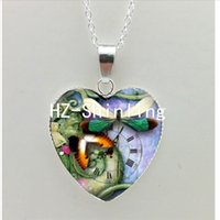 Новый стимпанк Dragonfly Heart Necklace Purple Dragonfly Heart Pendant Jewelry Murano Glass Heart Necklace NHT - 0064