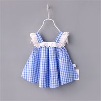 Wholesale Sexy Child Clothing - New baby girls plaid dress summer Sexy Children lace lattice dresses Kids Clothing C2206