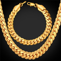 Wholesale gold chain set for men online - U7 MM Snake Gold Chains Set Gold Plated Chain Necklace Bracelet Sets for Men Jewelry Perfect Accessories Gift Men Jewelry Sets NH2489