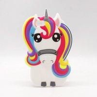 "Wholesale Iphone Rubber Cartoon Cases - Fashion 3D Cartoon Unicorn Silicon case for iPhone 4 4s SE 5 5s 6 7 6s plus 6plus 7plus 4.7 5.5"" Cute Rainbow Horse Rubber Cover Phone Cases"