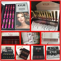 Wholesale Black Tie Charms - Kylie Lip Kit by kylie jenner Velvetine Liquid Matte lipstick Kylie 12 Colors Charm Moisturizing Bright Lip gloss black bow tie