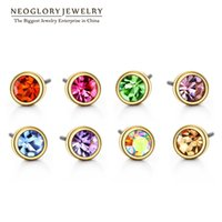 Wholesale Earrings Brands - Neoglory Austrian Rhinestone Charm Gold Plated Colorful Stud Earrings Set For Women Brand Fashion India Jewelry 2017 New Colf