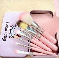 Wholesale Mini Makeup Brushes - New Hello Kitty Sweet pink black 7 Pcs Mini Makeup brush Set cosmetics kit de pinceis de maquiagem make up brush Kit with Metal box