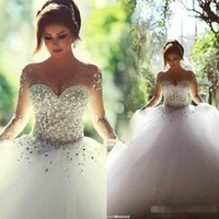 Wholesale Luxury Puffy Train Pleated Wedding Dress - Luxury Beaded Crystal Long Sleeve Wedding Dresses 2017 Sheer Jewel Neck Puffy Tulle Ball Gown Garden Muslim Wedding Bridal Gown Said Mhamad