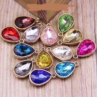 Wholesale Heart Birthstone Necklace - Crystal Rhinestone Birthstone Charms Dangle pendant bead For Bracelet   Necklace Droplets Pendants DIY jewelry accessories colorful