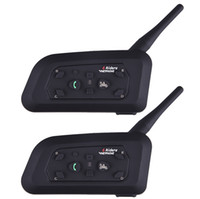 Barato Capacetes De Interfone Sem Fio-Atacado- Fodsport 2pcs / lot V6 Pro Capacete de motocicleta Bluetooth Headset Intercom 6 Riders Intercomunicador intercomunicador BT intercomunicador de 1200M